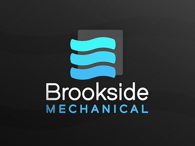 Brookside Mechanical black background blue mechanical brookside logo