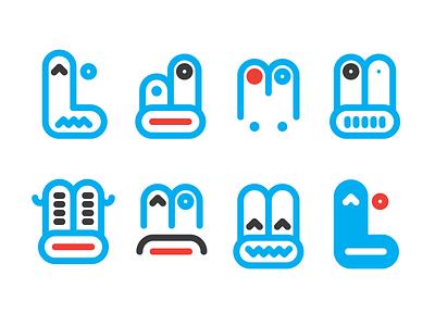 Facemen pictograms minimal faces