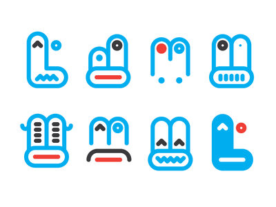 Facemen pictograms minimal faces