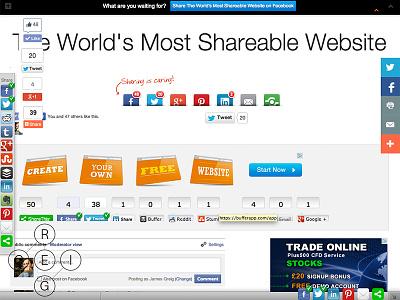 The Worlds Most Shareable Website social share sharing facebook landing engagement metrics