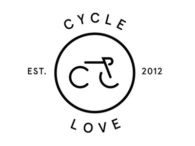 CycleLove bike logo cycling round stamp hipster
