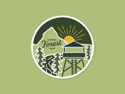National Forest Week Sticker sticker outdoors trees forest illustration