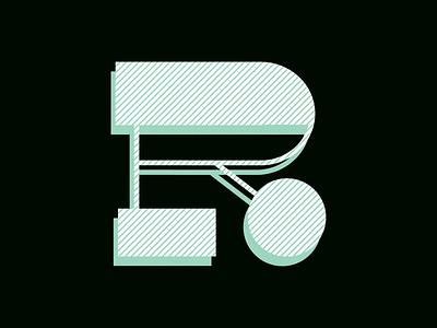 R letter illustration typography drop cap