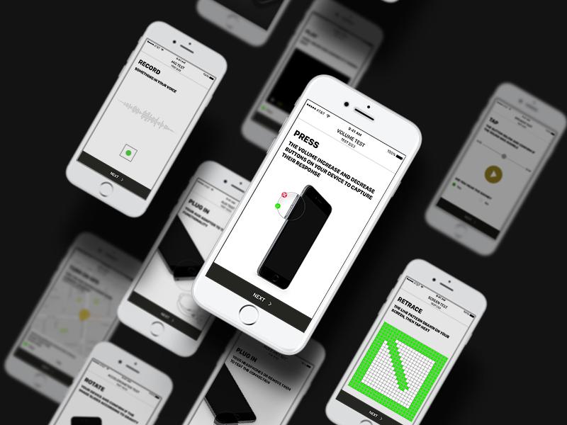 iPhone Testing mobile ux ui black presentation app testing ios iphone