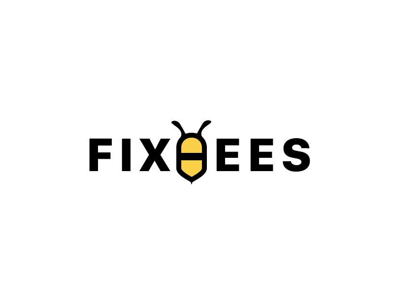 Logo #01: Fixbees Logo word yellow black bee simple logo