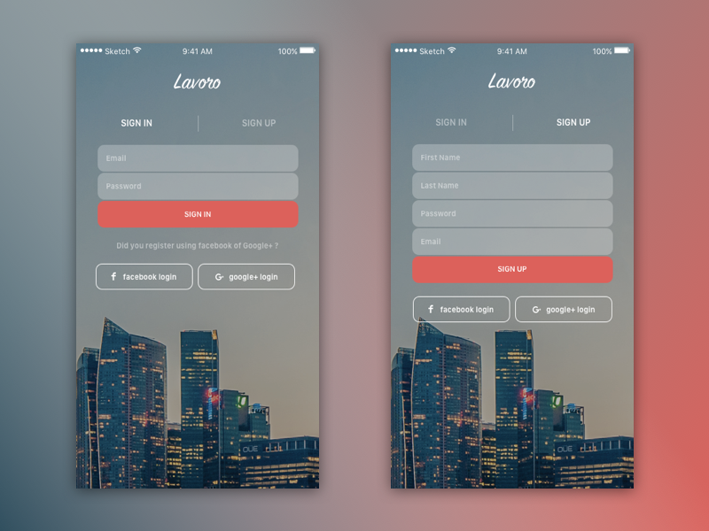 Sign in / Sign Up iOS gradient form google plus facebook social sign in sign up login ios mobile