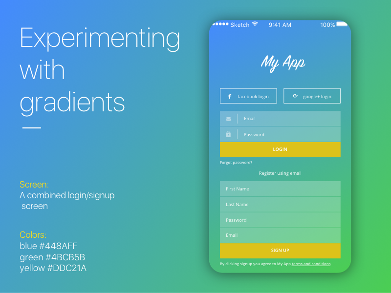 Experimenting with Gradients simple signup login mobile flat gradient