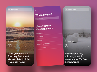 What should I wear? uidesign design uiux ux ui cold winter gradient humor humane clothes history filter search ios mobile app weather