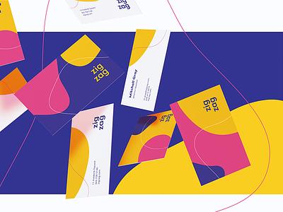Zigzag case study business card graphic design corporate identity presentation layout