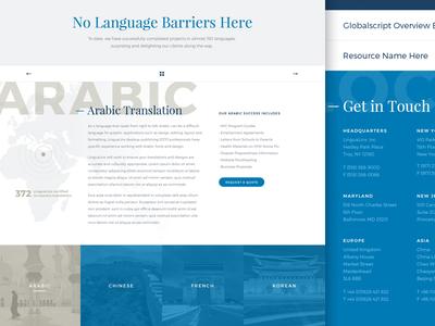 LinguaLinx Site Launch typography blue language translation website