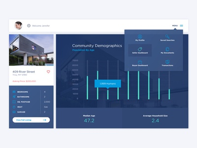 Redefy Web App dropdown menu graph app ux real-estate ui web app