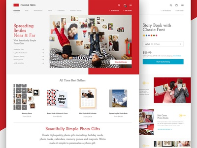 Pinhole Press ui flat clean products photo books launch ecommerce homepage website