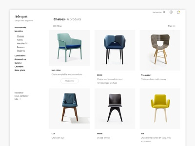 Adequat - Ecommerce ( category page ) webdesign uxdesign uidesign trendly quickview product minimal ecommerce design concept checkout category
