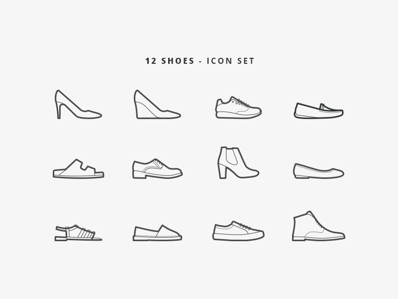 12 shoes - Icon Set ecommerce icons line shoe webdesign design shoes icon 6312de39dedc
