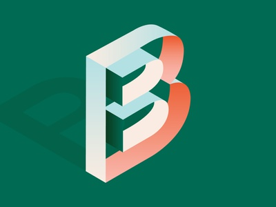Day 02 – 36 Days of Type 2020 isometry isometric isometric design 36 days of type letter b b typography 36daysoftype07 36daysoftype