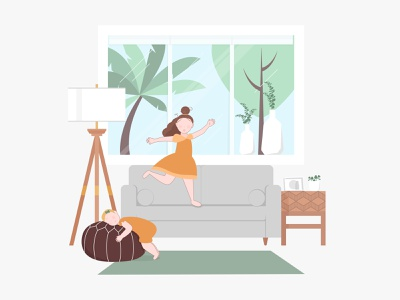 Casita Mia illustrator cc hug snuggle dance play fun people sisters home living room flat design illustration