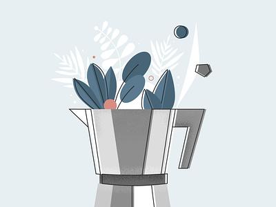 Cafetera percolator plant succulents coffee illustrator espresso cafetera illustration