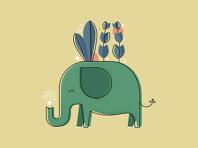 E is for Elephant animals illustrated elephant texture flat illustration iconography flat design illustration