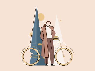Abuela adobe illustrator woman illustration fashion bike bicycle woman flat illustration flat design illustration