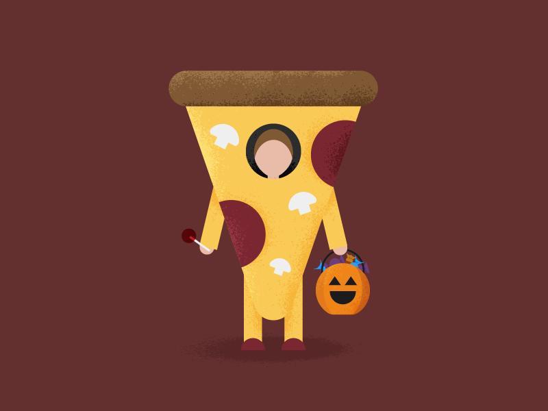 Pizza Treat Costume flat illustration illustration flat design lollipop candy jack-o-lantern pumpkin food trick or treat halloween costume pizza