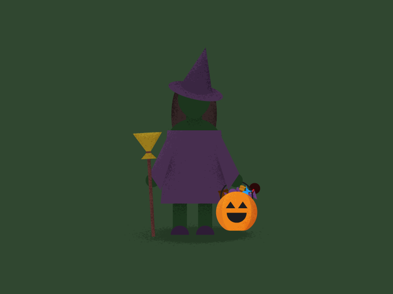 Witch Costume candy trick or treat pumpkin halloween flat illustration flat design illustration costume witch