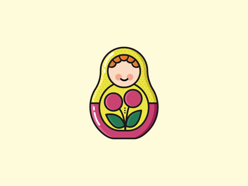 Russian Doll icon flat illustration russian doll doll