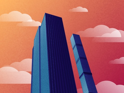Looking Up in NYC - 1 vector texture design buildings nyc flat design illustration
