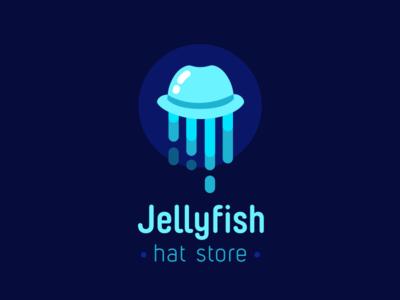 Jellyfish medusa ocean sea minimal flat store hat design art logotype logo jellyfish