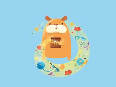 Handmade hamster handmade flat hamster character vector draw art illustration design
