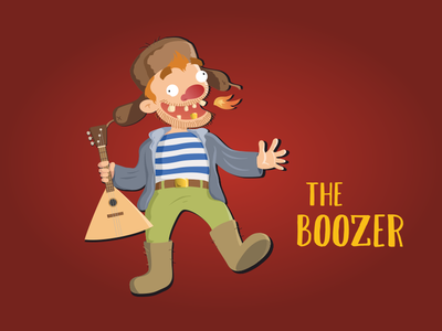 Boozer show comedy russia poster funny flat character vector illustration design