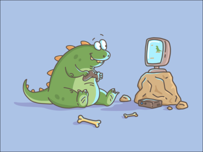Dino playing videogames