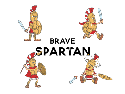 Brave Spartan business education history ancient set doodle draw comic mascot cartoon funny character vector illustration design
