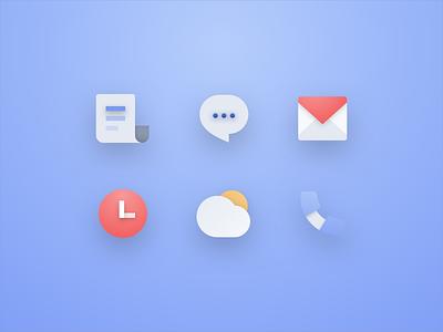 3D-Depth Flat icons minimal flat icon branding design vector illustration logo interface ui