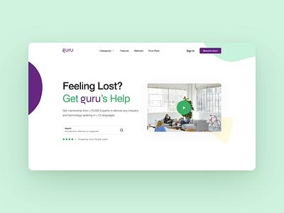 Guru Landing page logo ui ux website typography branding design web animation landingpage