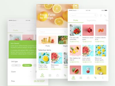 Market app bright ios android app vegetables fruits commerce market