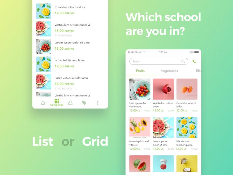 Listorgrid icon food commerce list ios design android user interface app ui