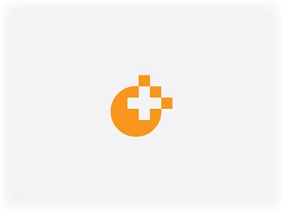 Orange Plus Logo pixel circle plus logo