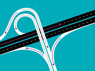 Merging Highways interchange white black blue movement merge road highway