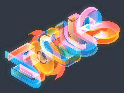 FOCUS vectorillustration typedesign type isometric illustration illustrator adobe vector lettering typography