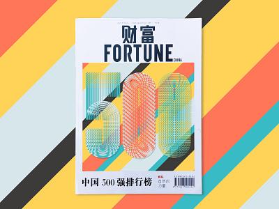 Fortune 500 / China print magazine cover editorial illustration illustrator adobe vector lettering typography