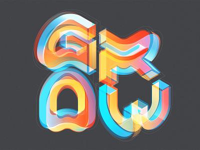 GROW graphic design typedesign isometric design illustration illustrator adobe vector lettering typography