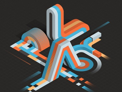 PLAY isometric illustration illustrator adobe vector lettering typography