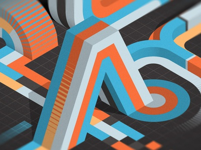 """""""PLAY"""" (close-up) isometric illustrator adobe vector lettering typography"""