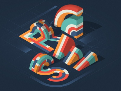 """RISE"" isometric illustration illustrator adobe vector lettering typography"
