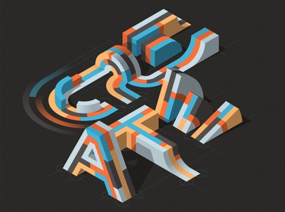 """CREATE"" design isometric illustration illustrator adobe vector lettering typography"