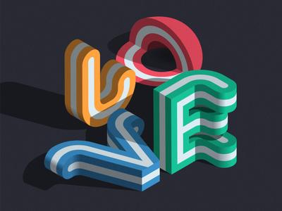 LOVE font type isometric illustration illustrator adobe vector lettering typography