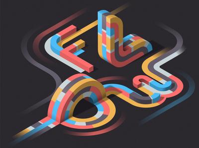 FLOW colors 3d isometric illustration illustrator adobe vector lettering typography
