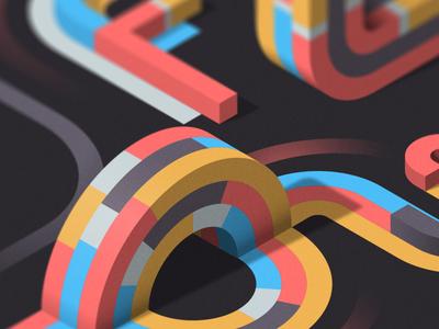 FLOW (close-up) isometric illustration illustrator adobe vector lettering typography