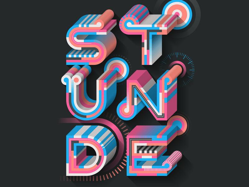 Stunde editorial illustration illustrator adobe vector lettering typography
