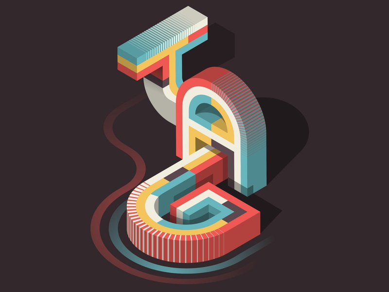 """TAG"" / ""DAY"" magazine editorial isometric illustration illustrator adobe vector lettering typography"